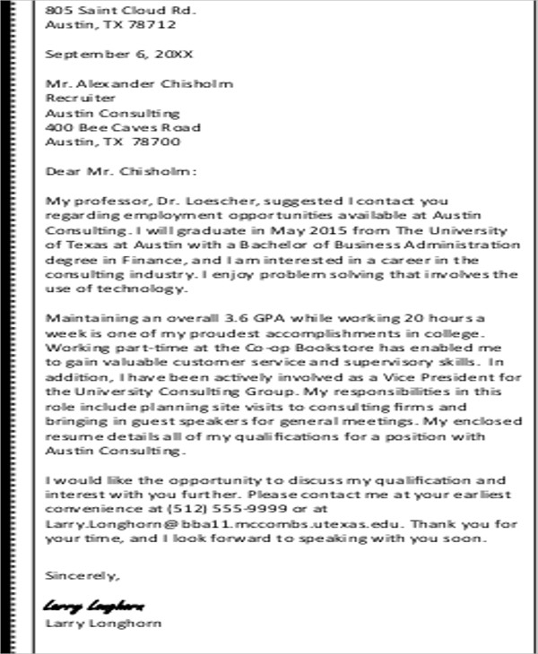 Sample ThankYou Letter To Recruiter   Examples In Word Pdf
