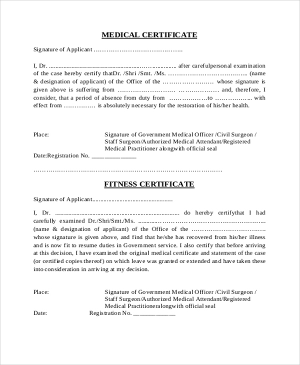 Sample Medical Certificate From Doctor   Examples In Word Pdf