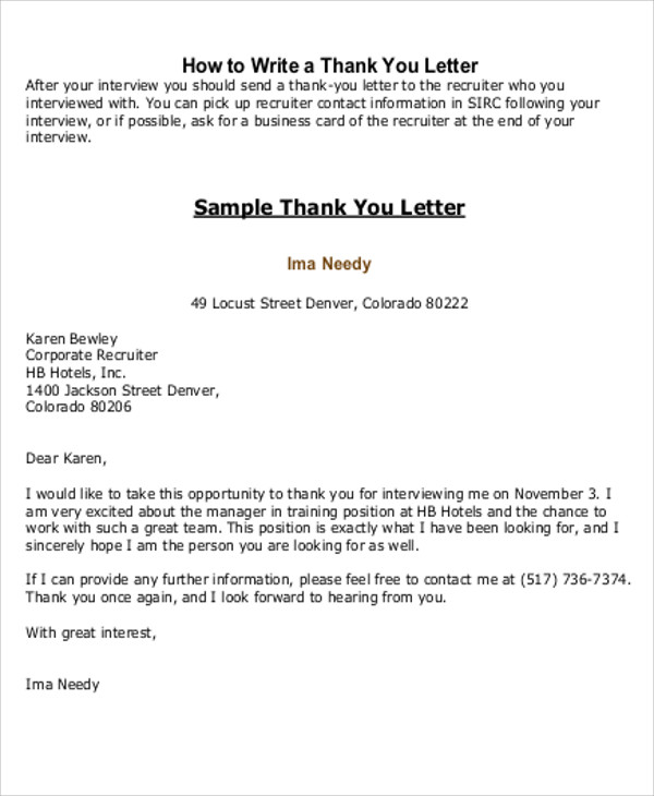 5 sample thank you letter to recruiter sample templates thank you letter to hr recruiter sample expocarfo Image collections