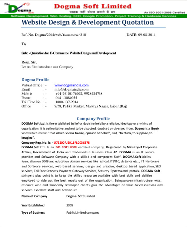 Website Quotation Sample 9 Examples in Word PDF – Website Quotation