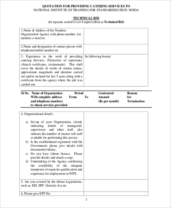 Catering Quotation Sample   Examples In Word Pdf