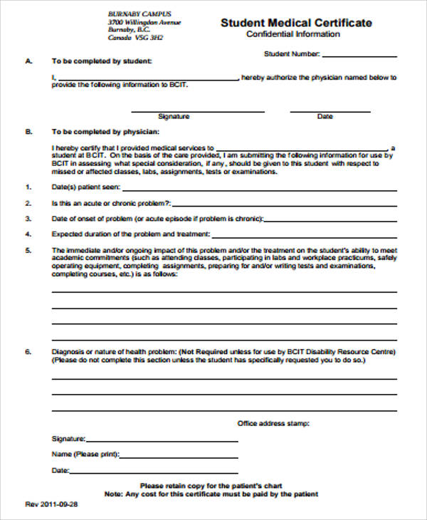 Sample Medical Certificate Form   Examples In Word Pdf