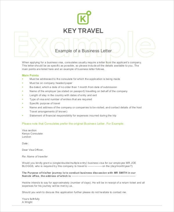 examples of business letter to a company