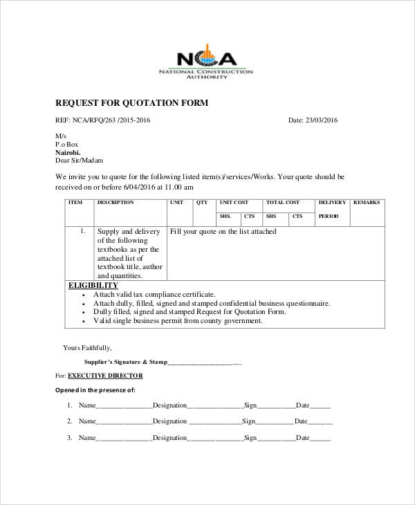 10+ Sample Quotation Forms | Sample Templates
