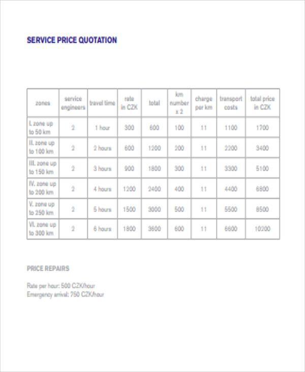 service price quotation