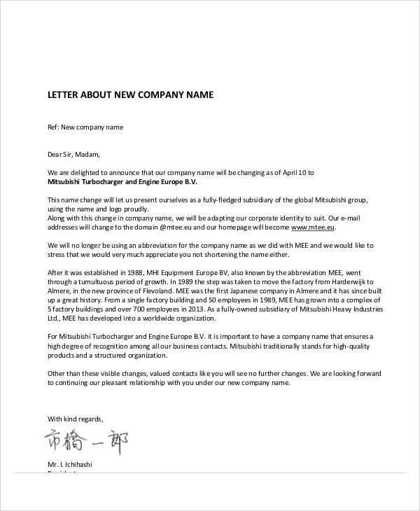 sample company business letter