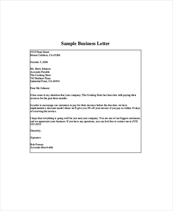 example business letter