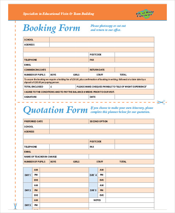 booking quotation form