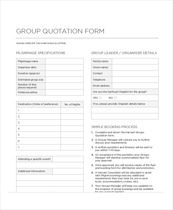 Sample Quotation Form   Examples In Word Pdf