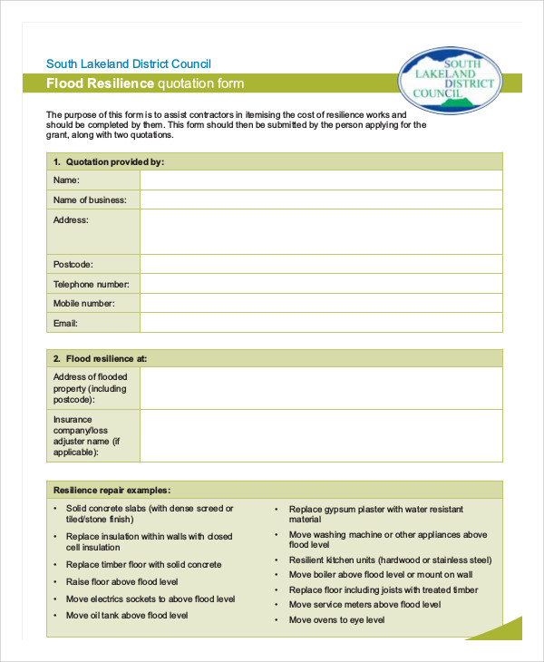 flood resilience quotation form