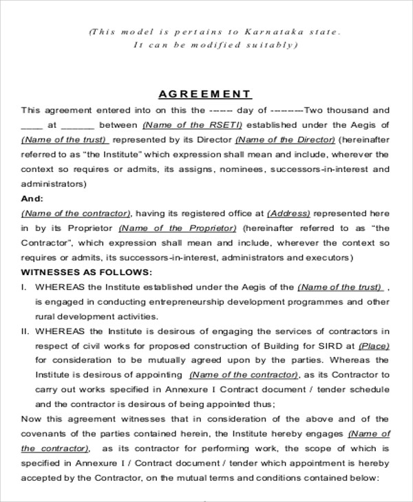 Contract Agreement Format Sample 9 Examples In Word Pdf