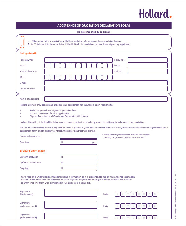 Doc460595 Quotation Forms Sample Price Quotation Format – Financial Declaration Form