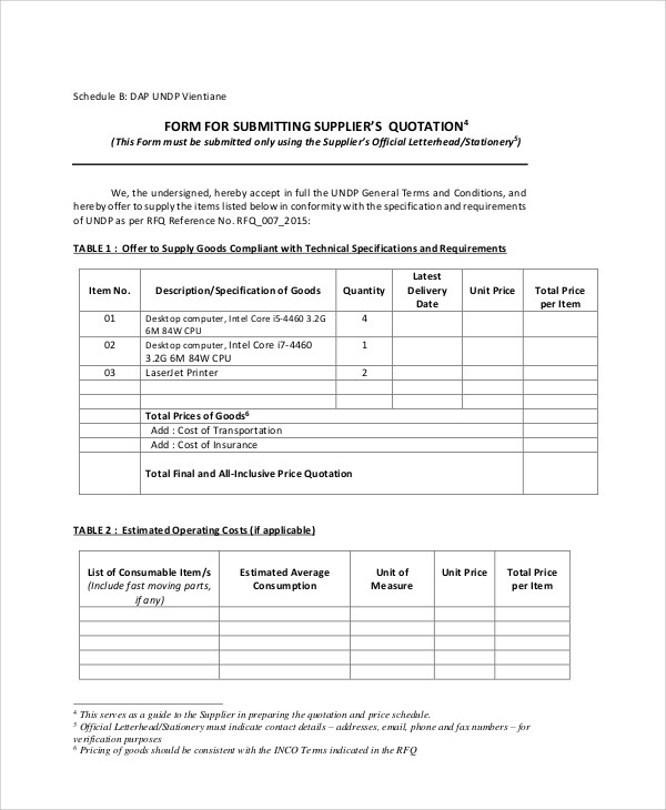 Standard Request For Quotation Form  Official Quotation Format