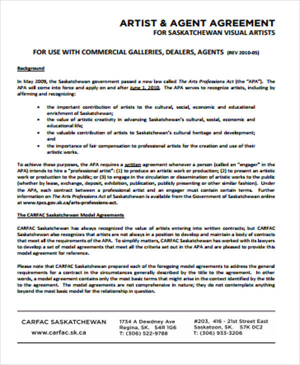 Sample Agent Contract Agreement - 8+ Examples In Word, Pdf