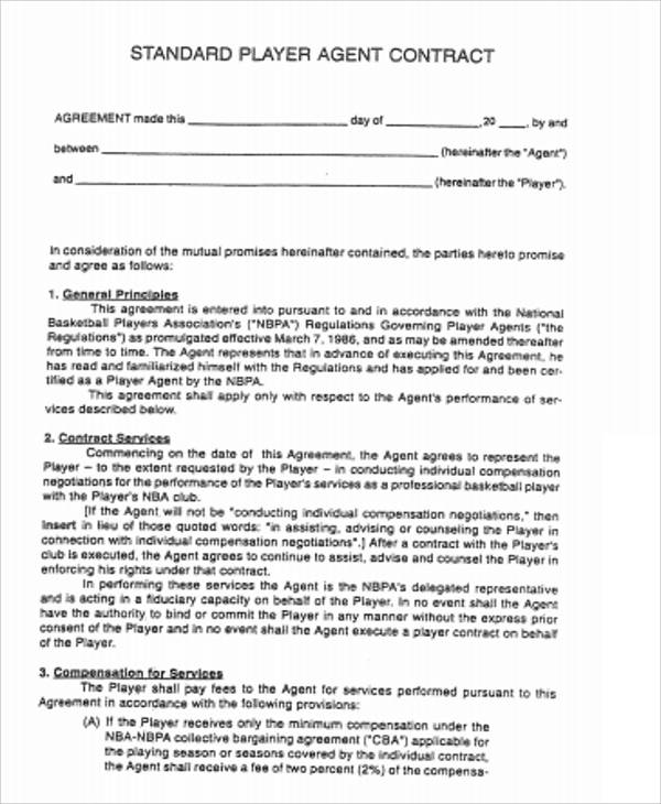 Sample Agent Contract Agreement   Examples In Word Pdf