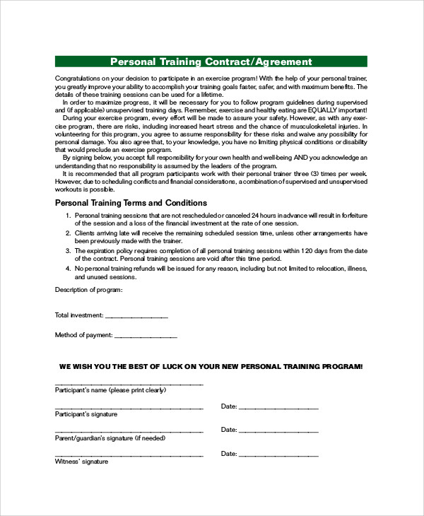 personal training agreement contract