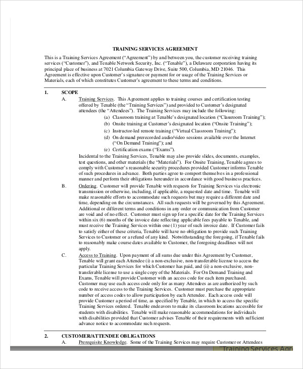 16 training agreement contract samples sample templates for Turnkey contract template