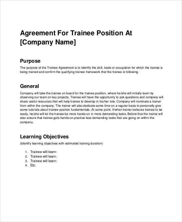 company trainee training agreement contract