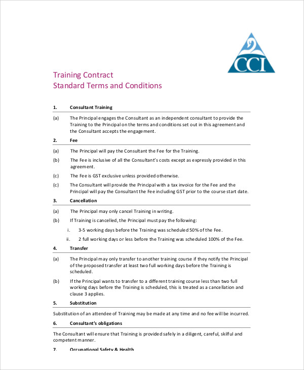 standard training agreement contract