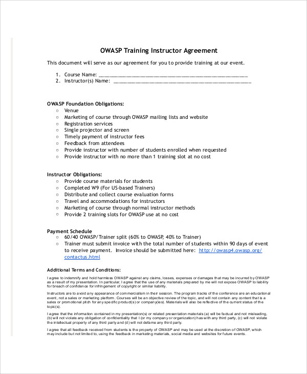 training instructor agreement contract