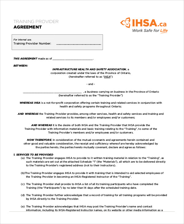 training agreement contract sample