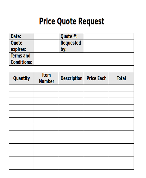 Price Quote Template: 12+ Sample Quote Request Forms
