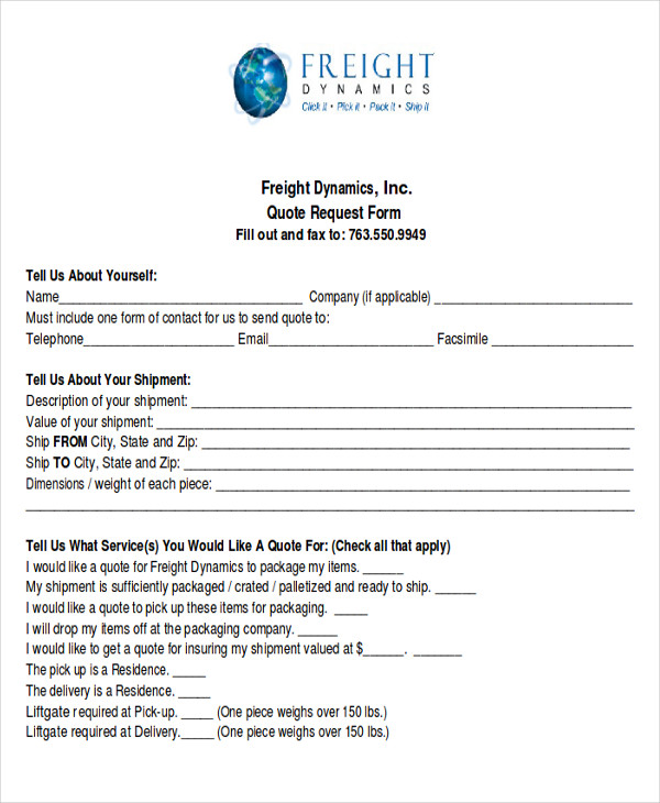 Sample Quote Request Forms - 12+ Examples In Word, Pdf