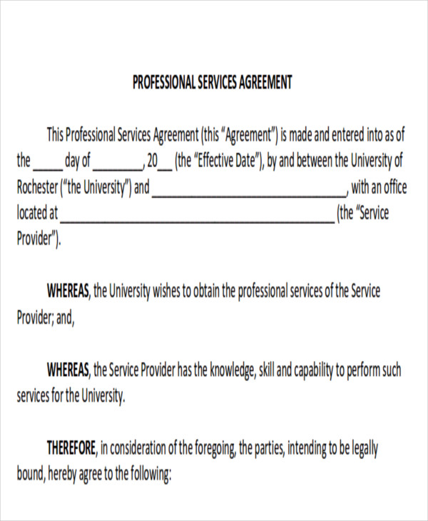 Fortable Professional Service Contract Template Ideas