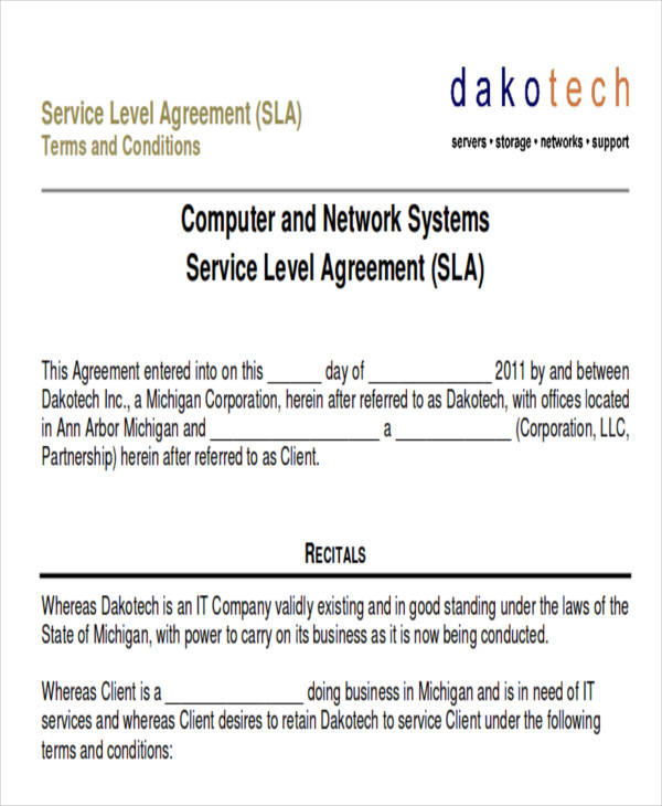 10 service contract samples in pdf sample templates for Computer repair service agreement template