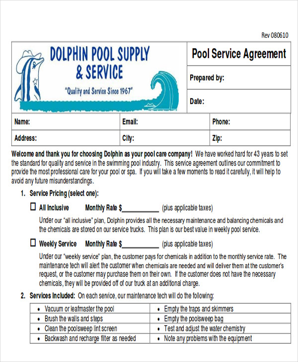 Pool Service Contract Example