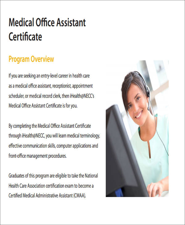 Sample Medical Assistant Certificate
