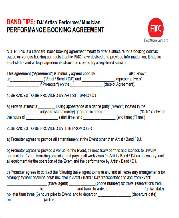 9 performance agreement contract samples sample templates for Band booking contract template