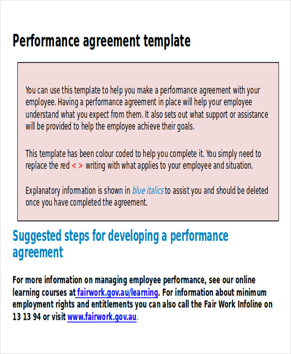 Performance Agreement Contract Sample 9 Examples in Word PDF – Performance Contract Template