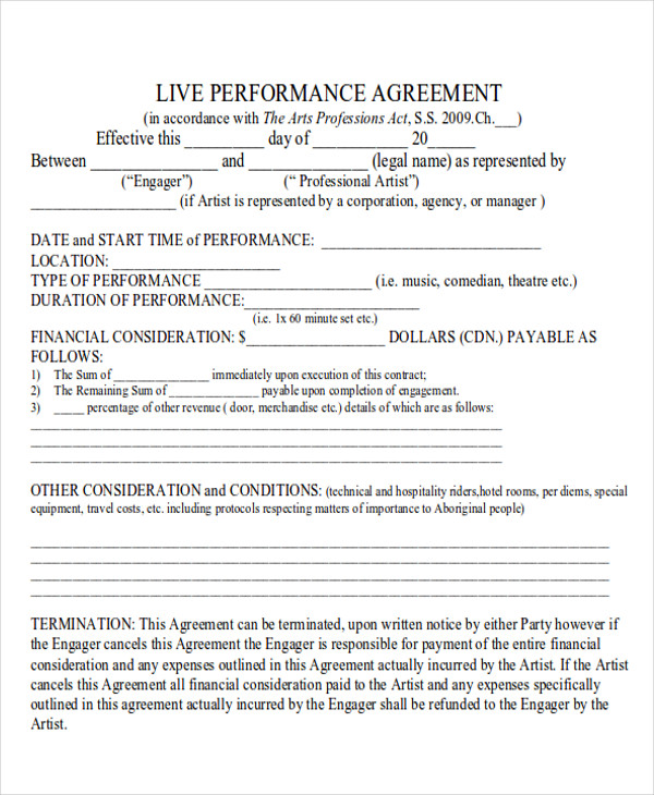 Performance Agreement Contract Sample   Examples In Word Pdf