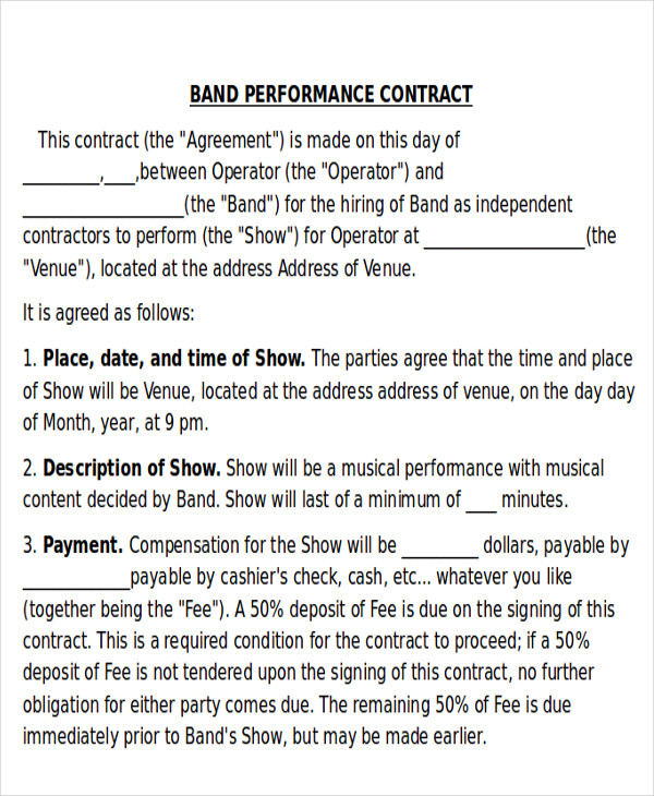 Band contract vatozozdevelopment band contract altavistaventures Gallery