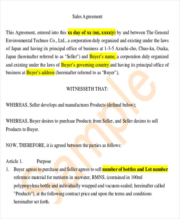 legal sales agreement contract