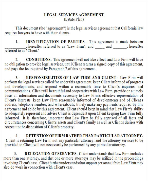 legal services agreement contract