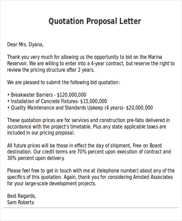 Quotation Proposal Letter  Bid Proposal Letter