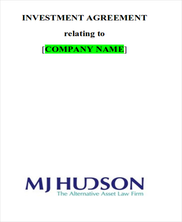 Sample Investment Contract Agreements   Examples In Word Pdf
