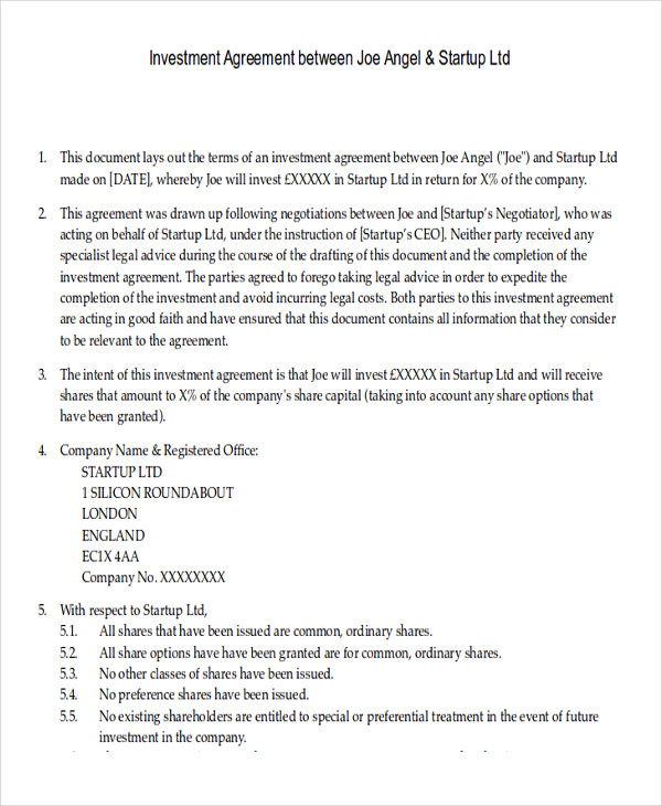 Sample Investment Contract Agreements 7 Examples in Word PDF – Investor Contract Template Free