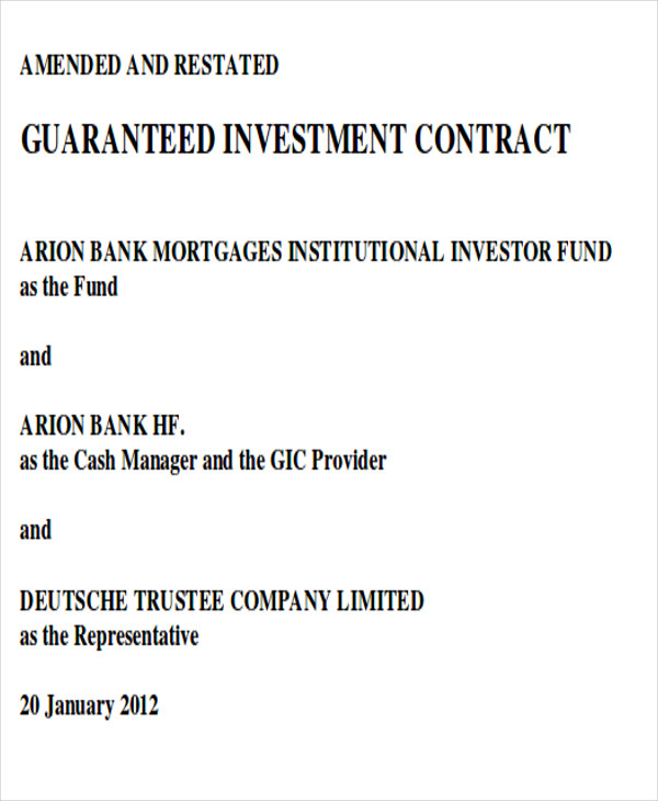 Guaranteed Investment Contract Agreement  Investor Contract Sample