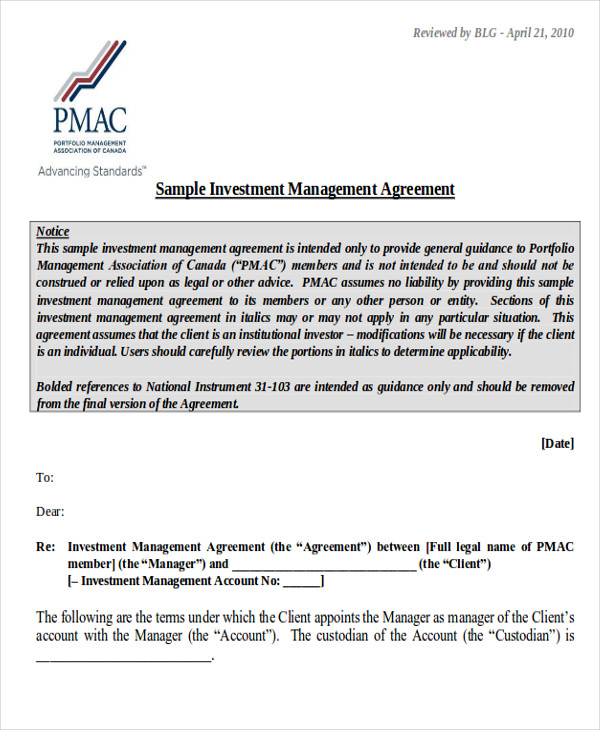 Sample Investment Contract Agreements - 7+ Examples In Word, Pdf