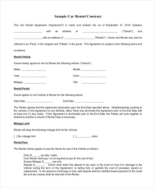 Sample Rental Contract Agreements   Examples In Word Pdf