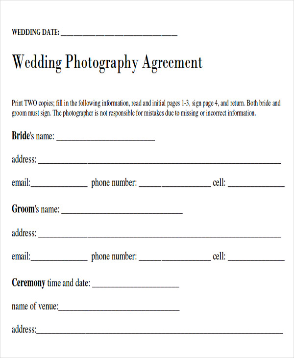Wedding Photography Contracts Examples: Sample Wedding Contract Agreements