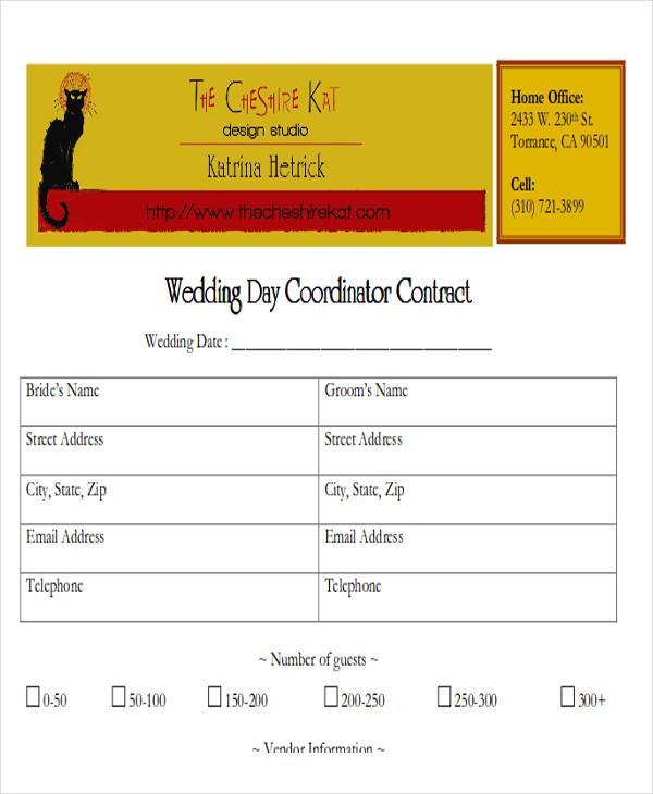 wedding coordinator contract agreement