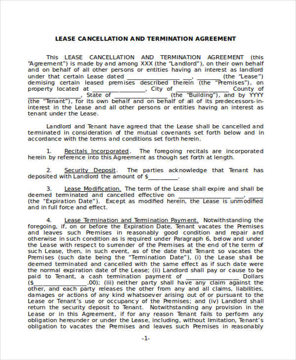 rental contract termination agreement