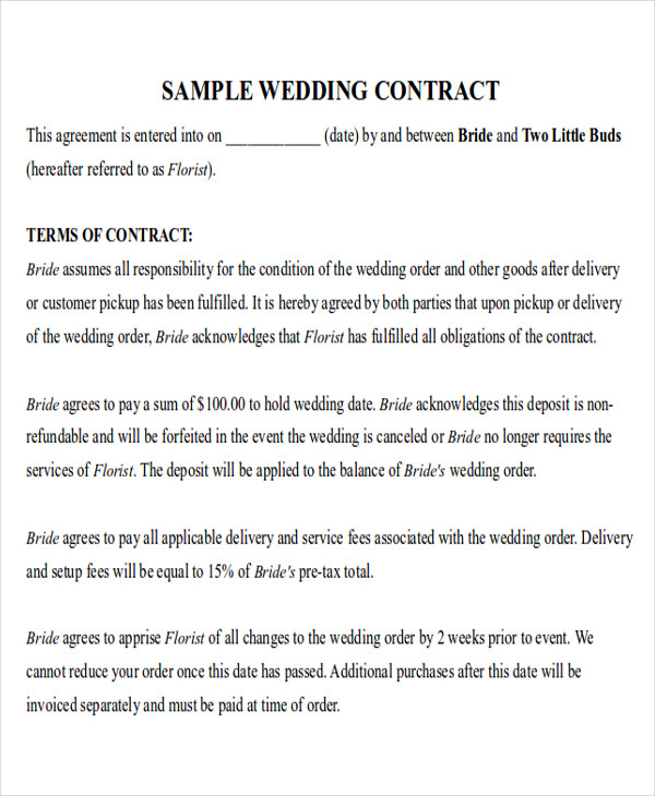 wedding florist contract template - 9 sample wedding contract agreements sample templates
