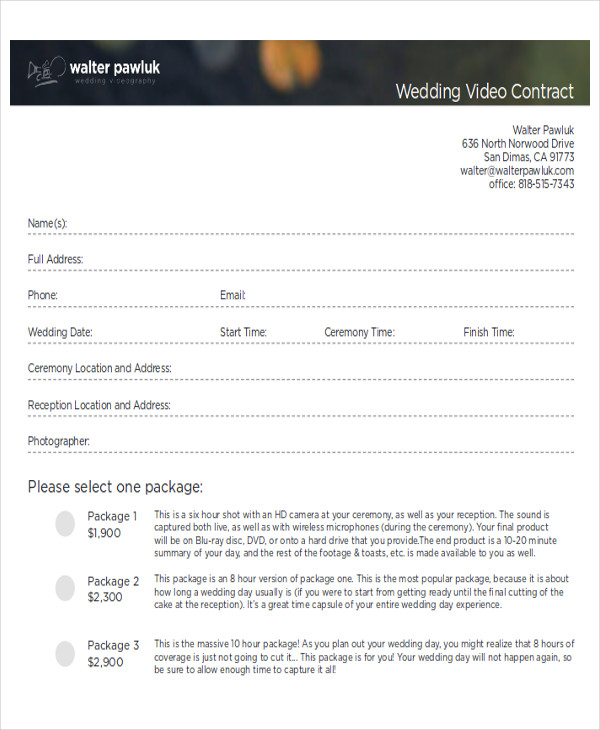 Wedding Video Contract Agreement
