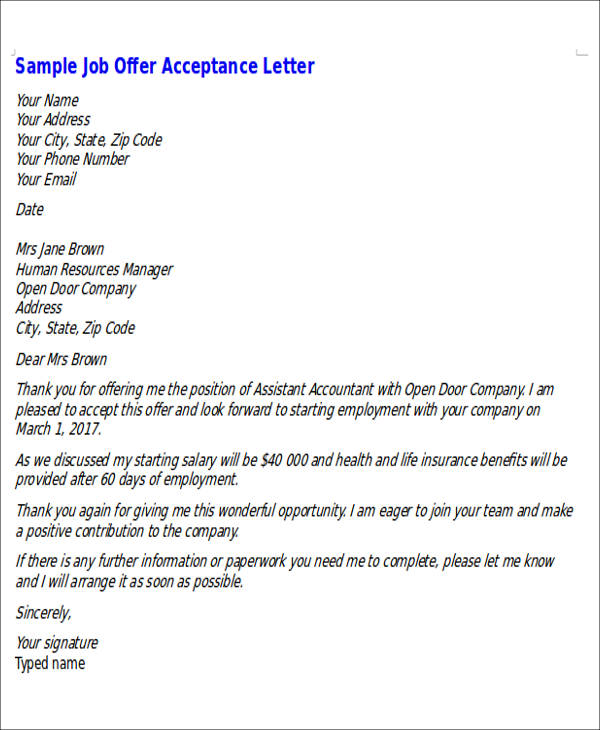 formal job offer acceptance letter sample