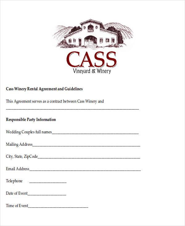 sample wedding contract agreements